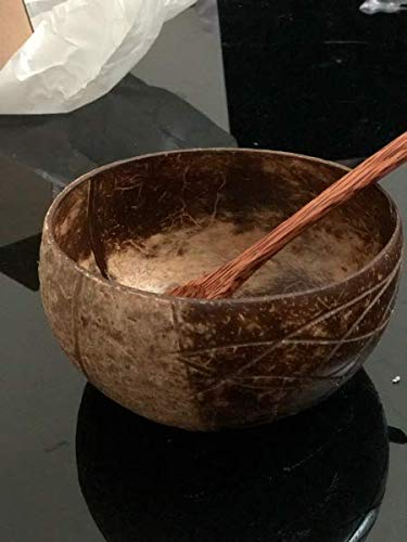 VYNEC Coconut Bowl, EKO-Friendly All-Time Use Large Coconut Bowl Set With Wooden Spoon Supporting Charity 1$Per Purchase HANDMADE Unique Quality - Traditional Vietnamese Art by Local Craftsmen