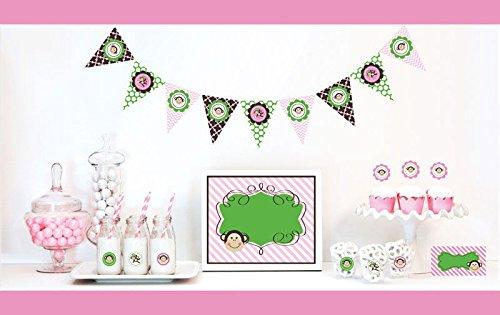 Monkey Decorations Starter Kit Birthday Favors (EB) (3, Pink) by Eventblossom