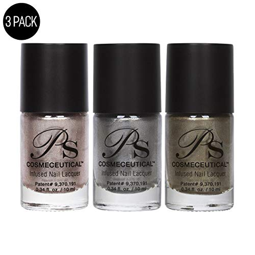 PS Polish Metallic Collection Nail Polish - All Natural Non-Toxic Professional Grade Nail Art and Lacquer Nail Polish, Beige Nail Polishes for Manicure, Pedicure, Hands, 3 Pack (Ice, D'or, Champagne)