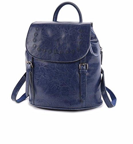Leder tasche Öl wachs Leder Schultertasche mit echten Taschenmode hundert-Eimer Student Travel Bag, 27 * 14 * 29 cm Blau