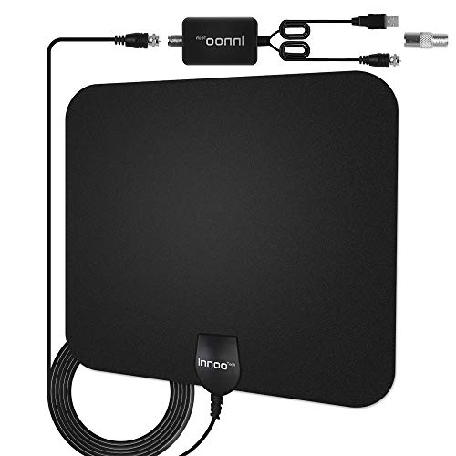 TV Antenna - Innoo Tech HD Antenna Support 4K 1080P, 80 to 130 Miles Range Digital Antenna for HDTV, VHF UHF Freeview Channels Antenna with Amplifier Signal Booster, 16.5 Ft Longer Coaxial Cable