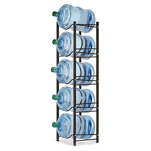 Water Bottle Cooler Jug Rack, 5 Gallon Water Cooler Bottle Holder for Water Dispenser Storage, 5-Tier Heavy Duty Canning Shelf Kit, Bronze (Shelves For Coolers)