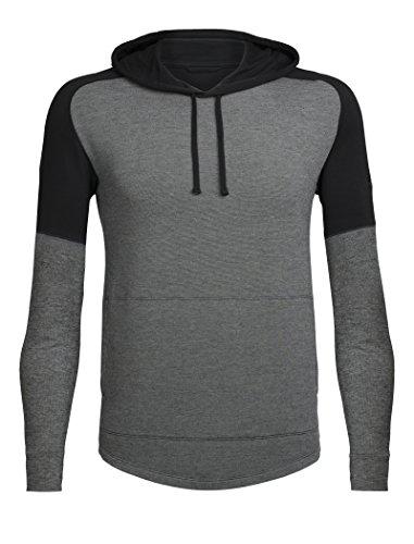 - Icebreaker Merino Men's Momentum Long Sleeve Hoodie, New Zealand Merino Wool, Snow Heather/Black, Large