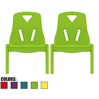 """2xhome - Set of Two (2) - Kids Size Plastic Side Chair 10"""" Seat Height Teal Childs Chair Childrens Room School Chairs No Arm Arms Armless Molded Plastic Seat Stackable"""