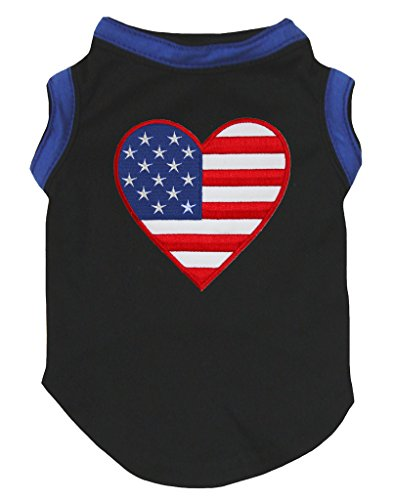 Petitebella Puppy Clothes Dog Dress America Heart Blue Black Cotton T-Shirt (4 Dog T-shirt)