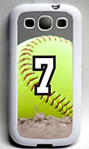 Softball Sports Fan Player Number 7 Decorative White Rubber Samsung Galaxy S3 Case