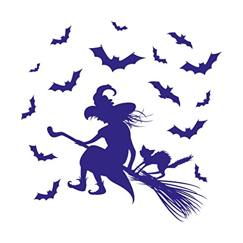 1334__DBL Wall stiker Riding hag,Halloween decoration ( Dark Blue) (Low Cost Halloween Decorating Ideas)