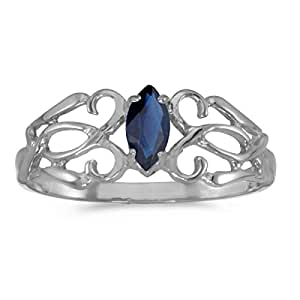 0.21 Carat ctw 14k Gold Marquise Blue Sapphire Solitaire Filigree Design Antique Engagement Fashion Ring - White-gold, Size 4