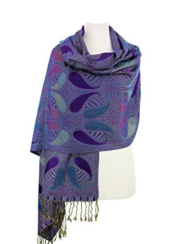 Paskmlna Paisley Pattern Tow Layered Woven Pashmina Shawl Scarf Wrap Stole (A18-013) ()