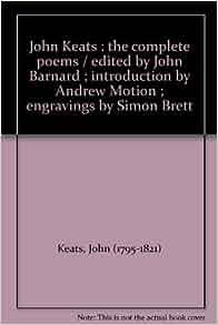John Keats The Complete Poems Edited By John Barnard