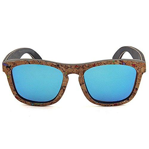 Playa de calidad Gafas mano de los sol conducción a Personalidad de sol de Gafas hombres hechas Protección Gafas de madera sol de Retro de Azul sol alta blandas Gafas d polarizadas sol UV de de Gafas Gafas wqIXABfaB