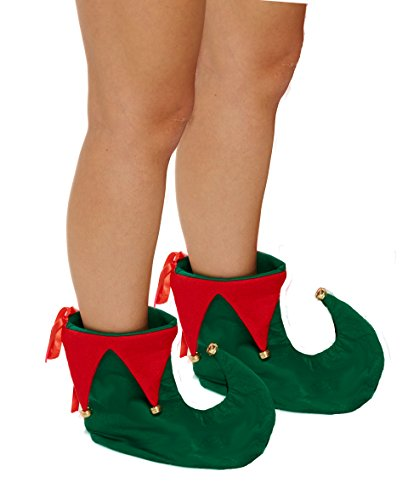 Glossy Look Adult Elf Shoes with Bells Christmas Fancy Dress Costume Party Accessory One Size