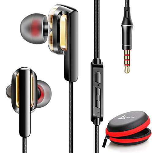 WeCool W008 Dual Driver Wired in-Ear Noise Cancelling Earphones with Mic, Deep bass and HD Stereo Earphone with in line Volume Control Button with Free Carry case (Black)