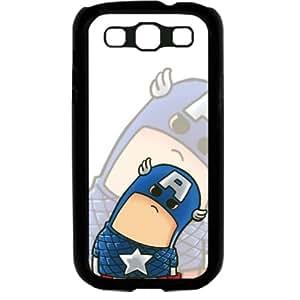 Popular Cute Cartoon Captain America Samsung Galaxy S3 SIII I9300 TPU Soft Black or White case (Black)