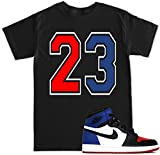 FTD Apparel Men's 23 Red Blue Print T Shirt - Medium Black