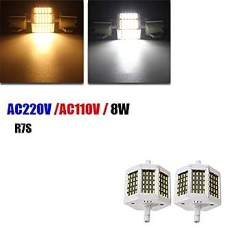 Intensidad regulable R7S 78 mm 8 W 60 SMD 4014 LED negro placa blanco cálido blanco