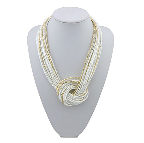 UPC 728120386599, BOCAR White Seed Beads Multilayer Chunky Bib Statement Knot Necklace (NK-10316-white)