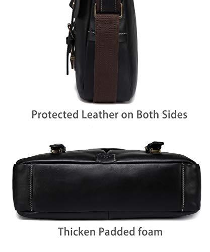 Leather Messenger Bag for Men, VASCHY Handmade Full Cowhide Leather Vintage Satchel 15.6 inch Laptop Business Briefcase Travel Shoulder Bag Black by VASCHY (Image #5)