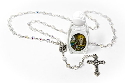 (Blessed Bottle of Lourdes Water & Crystal Our Lady of Lourdes Rosary Beads Catholic Gifts From Lourdes)