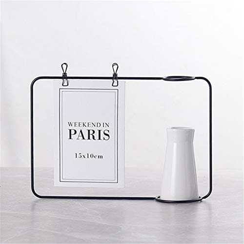Flower Photo Note Card - 1PC Nordic Iron Art Desktop Decoration Notes Clips Card Photo Holder Table Memo Name Message Clips with Flower Vase Office Decor