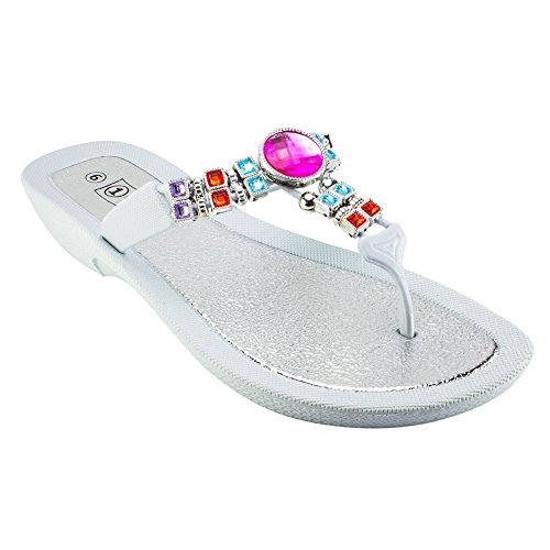 1 DOCKS WOMENS GEMMA BEADED THONG SANDAL (WHITE;SIZE 8) gVgPZh7S2