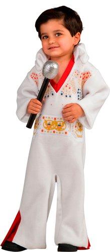 Baby Elvis Costumes Halloween (Rubie's Baby-boys Newborn Elvis Bunting Costume, White/Red,)