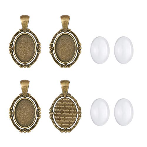 Pandahall 10Sets Tray:18x13mm Anqitue Bronze Oval Alloy Tiebetan Style Pendants Cabochons Bezel Blank Setting Cover with Transparent Oval Glass Cabochons Magnify Cadmium Free & Nickel Free & Lead Free
