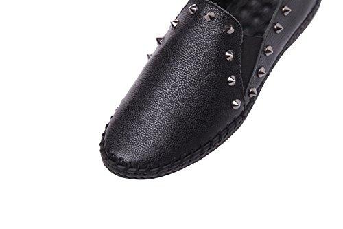 AllhqFashion Mujeres Slip-on Puntera Redonda Tacón Bajo Material Suave Zapatosdetacón Negro