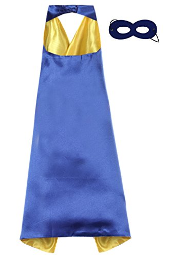 So Sydney Superhero Princess SOLID Color CAPE & MASK SET Kids Halloween Costume (Blue & (Superhero Yellow And Blue Costume)