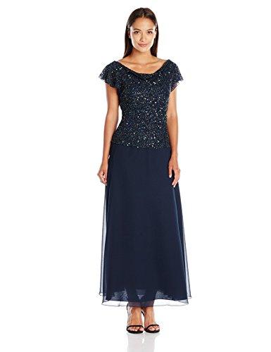 J Kara Women's Petite Long Beaded Cowl Neck Flutter Sleeve Gown Dress, Navy/Shaded, 10P]()