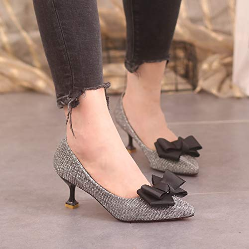 Treinta Delgada Chistes Alargada Tacones Solo KOKQSX 5cm y Plateado Zapatos Cabeza Seis Medio los Tacones Altos HUw7qt1