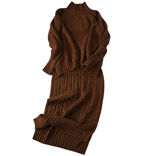 Sweater Dress Set Cashmere Long Sleeve Knit Sweatshirt and High Neck 2 Pieces Midi Skirt Set (Caramel, (Sweater Jumper Set)