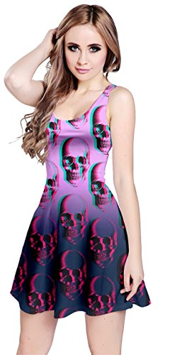 CowCow Womens Purple Skull Color Sleeveless Dress, Purple - S