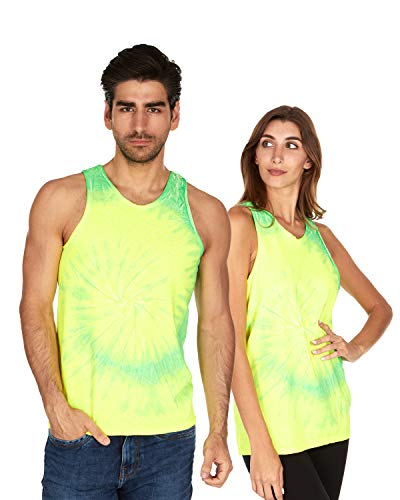 Tie Dye Tank Top Men Women - Fun Bright Colotful Tops, Flo Yellow & Lime, Large ()