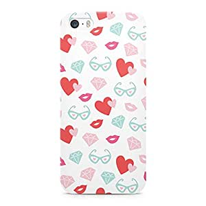 Loud Universe Valentines Heart Glasses Diamond Pattern Sleek Scratch Resistant Wrap Around iPhone SE Case - White