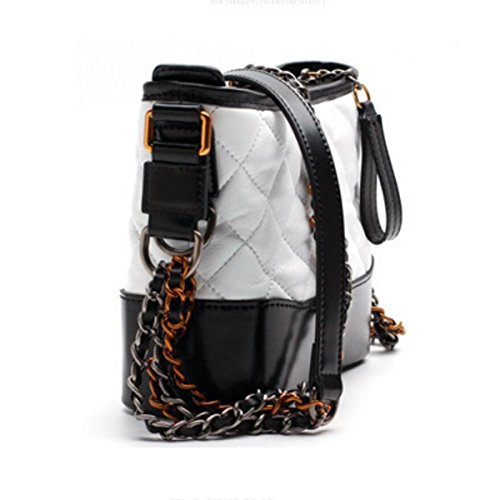 Actlure Cowhide Quilted Leather Shoulder Crossbody Chain Hobo Purse Bag (S, WHITEBLACK) by ACTLURE (Image #2)