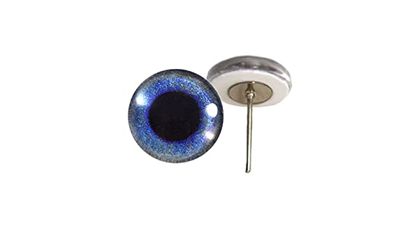 Blue Crow Glass Eyes On Wire Pin Posts for Needle Felting Doll Sculpture Taxidermy Making and Other Crafts 6mm