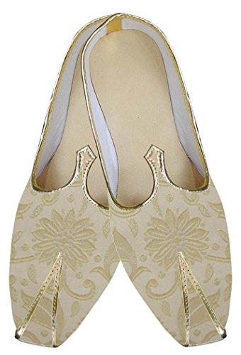 Inmonarch Hombres Beige Indian Wedding Shoes Diseño De La Flor Mj0142