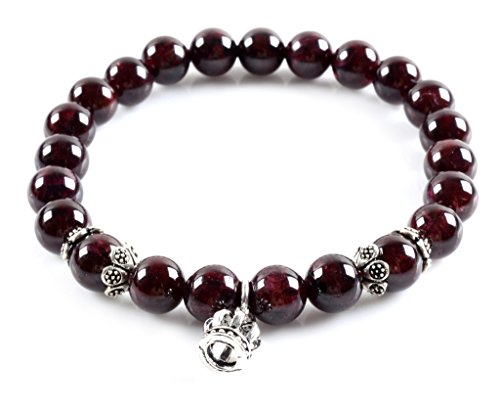 (Gemstone 8mm Natural A Grade Garnet and Genuine Thai silver Crown Charm Bracelet 7