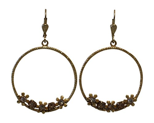 Catherine Popesco La Vie Parisienne Medium Hoop Earrings with Flowers & Swarovski Crystals ()