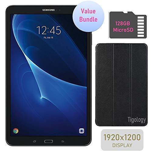 Samsung Galaxy Tab A 10.1-inch Touchscreen (1920×1200) Wi-Fi Tablet Bundle, Octa-Core 1.6GHz Processor, 2GB RAM, 16GB Memory, Bluetooth, 128GB MicroSD Card, Tigology Case, Android OS