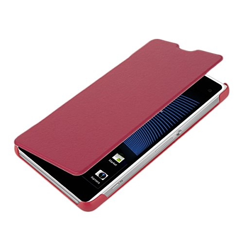 kwmobile® Practical and chic leather FLIP COVER case for Sony Xperia Z1 Compact in Hot Pink