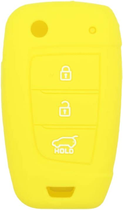 SEGADEN Silicone Cover Protector Case Holder Skin Jacket Compatible with HYUNDAI 3 Button Flip Remote Key Fob CV2156 Black