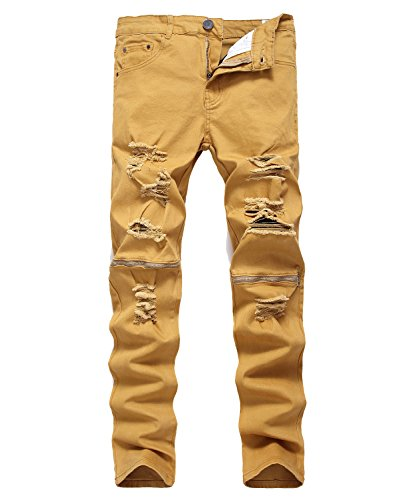 Hipster Zip Fly Jeans - Idopy Men`s Hipster Hip Hop Distressed Ripped Washed Denim Biker Jeans (30, Khaki)
