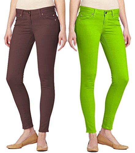 Apple Skinny Jean Pocket (Dinamit Jeans 2 Pack 5 Pocket Skinny Uniform PantsBrown Apple 7)