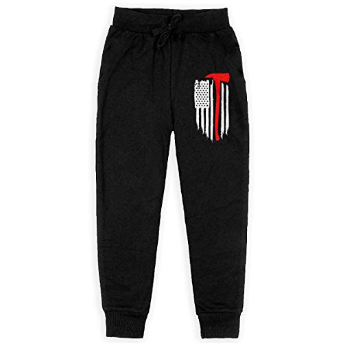 American Flag Firefighter Maltese Cross Axe Fire Halligan Boys Cotton Sweatpants Elastic Waist Pants Sports Pants