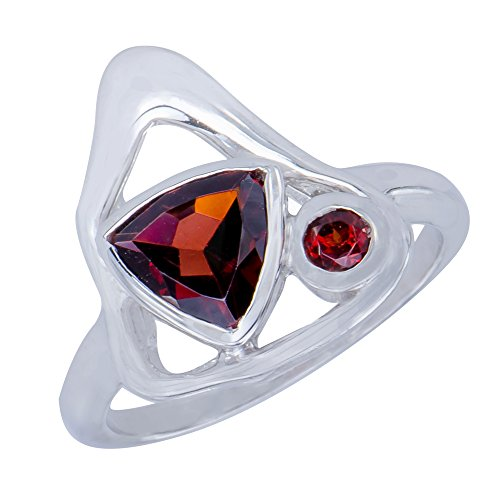 - Dazzling Genuine Triangle Garnet Natural Gemstone Sterling Silver Trilliant Shapes Jewelry Womens Ring  7