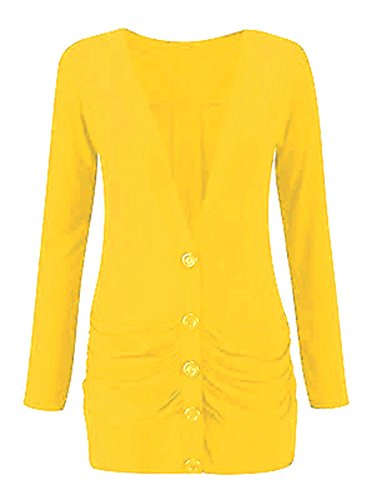 Cardigan Longsleeve up Ladies 8 Womens Boyfriend Pocket 26 Size Jaune Button 57ZYxZ