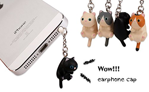 iAnko 4 Pcs (Whole Set) Little Lovely Cute Fat Cat Dust Plug Stopper Universal 3.5mm Anti Dust Earphone Jack Plug Cap for Iphone4/4s/5/6/6 Plus,ipod,ipad,htc,samsung S3 S4 S5 (Cellphone Earphone Jack Accessory compare prices)