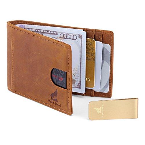 Mens Slim Leather Bifold Wallet: RFID Money Clip Billfold & Credit Card Holder (Crazy Horse Light Brown)